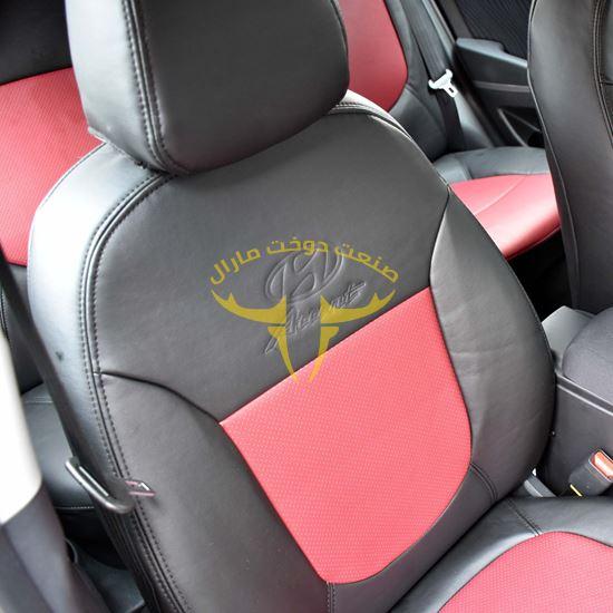 روکش صندلی چرم مشکی وسط قرمز اکسنت
