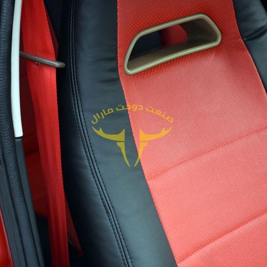 روکش صندلی چرم مشکی وسط قرمز جن تو